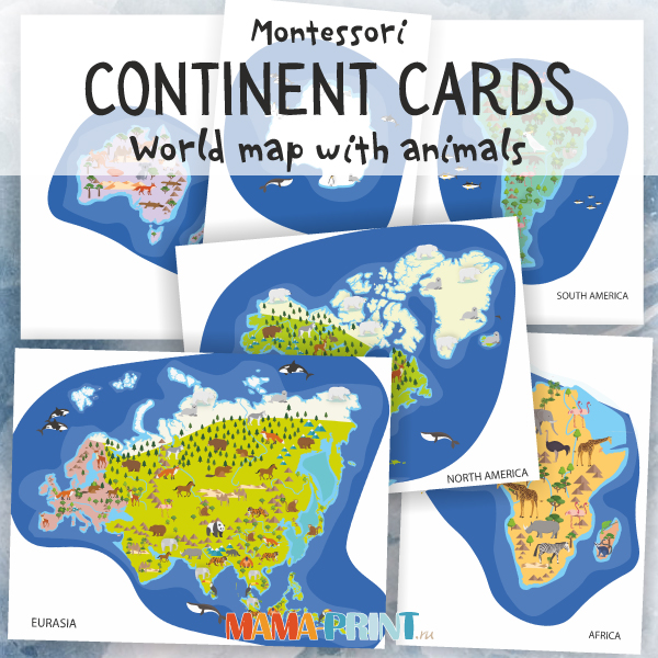 World map with animals for kids